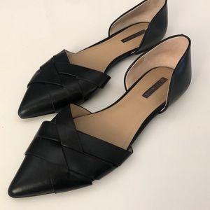 BCBG Black Leather Flats